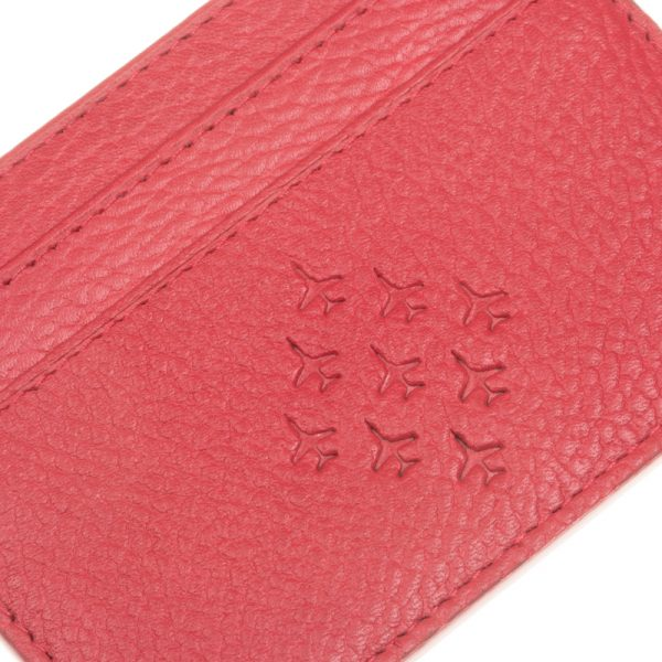 close up of red arrows leather cardholder embossed diamond 9