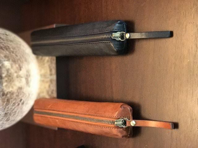 italian leather long zipped case
