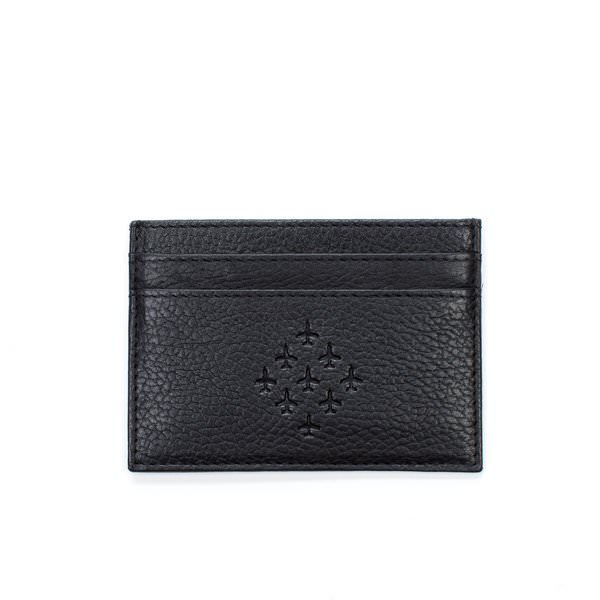 black embossed leather cardholder with diamond 9 logo