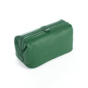 front image of green leather wash bag