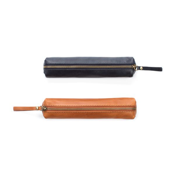 italian leather zipped cases blue and tan