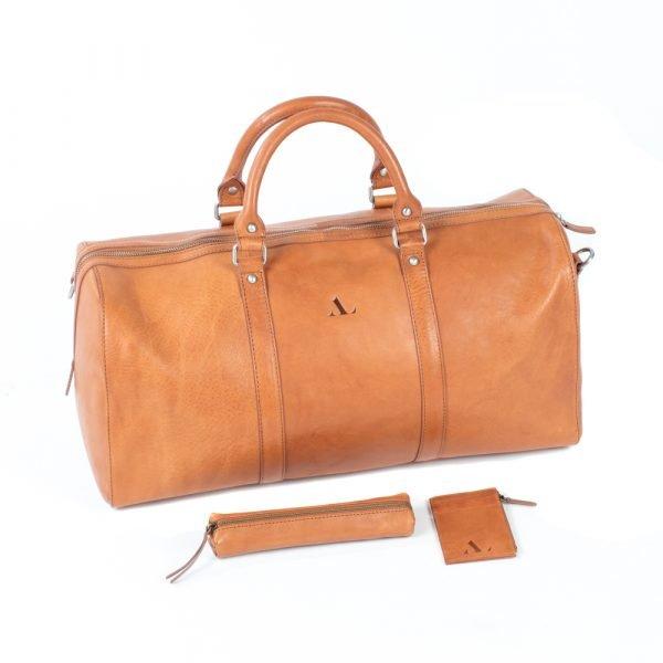 stylish weekend bag italian tan