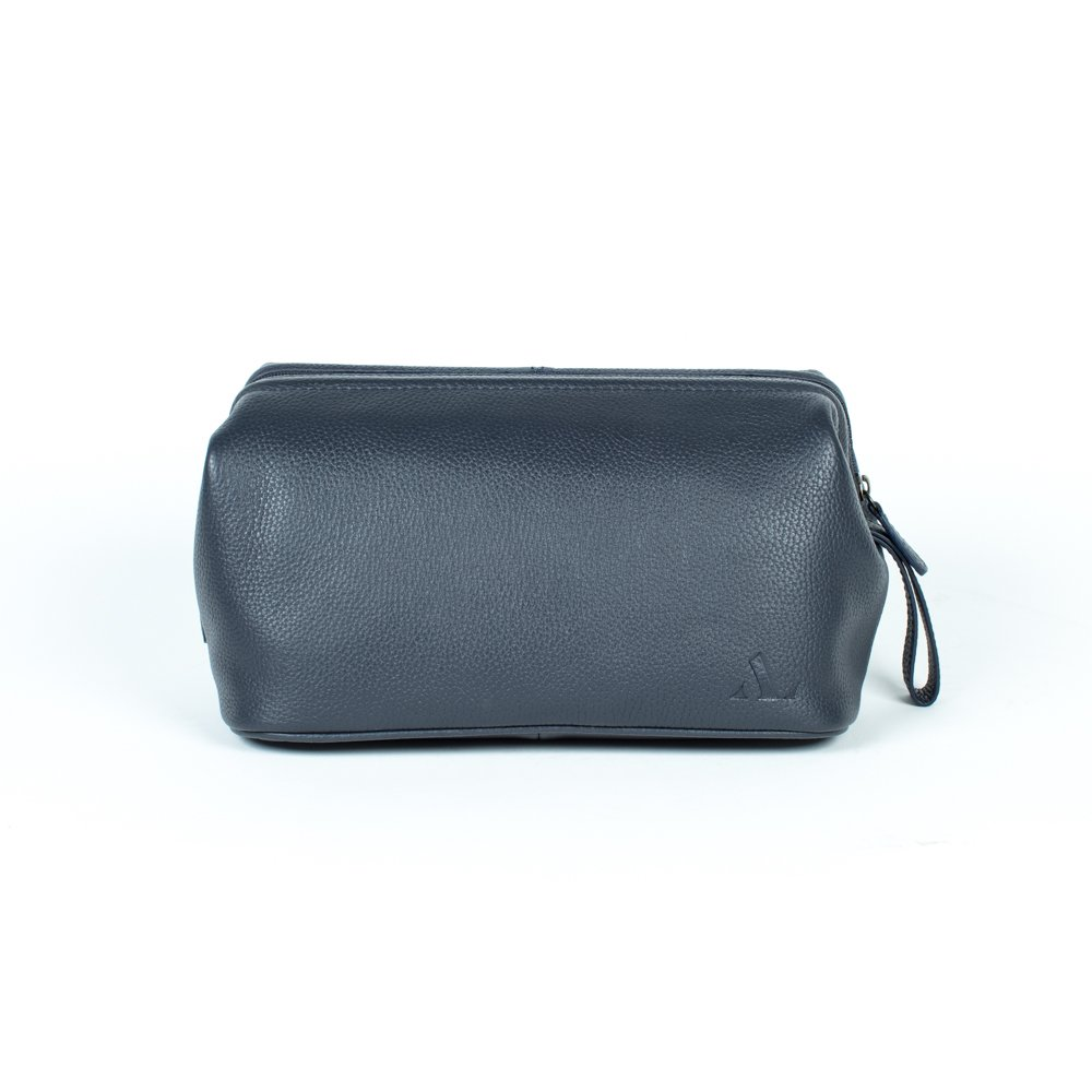 Oversized washbag in navy embossed leather
